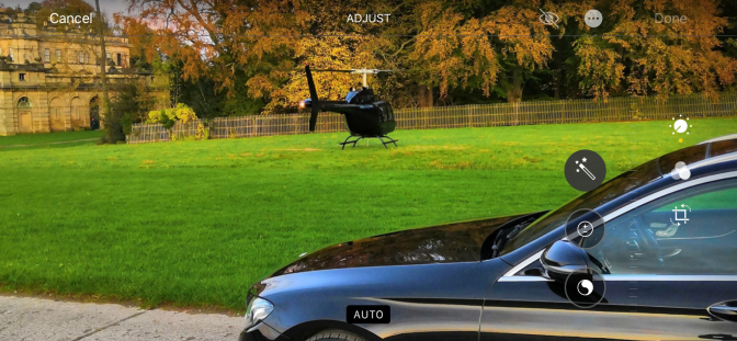 Mercedes E Class and Helicopter in Duncombe Park